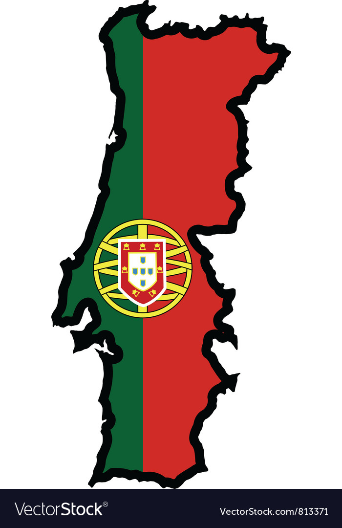Map In Colors Of Portugal Royalty Free Vector Image - Portugal map vector