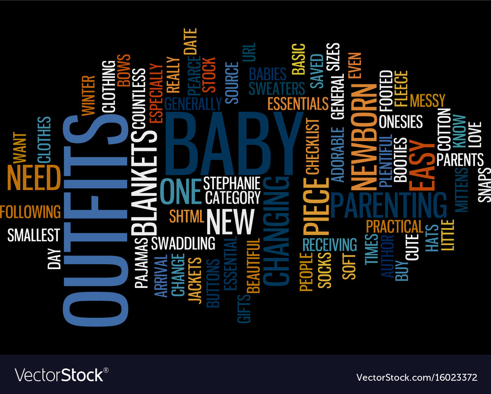Essential baby clothes text background word cloud vector image