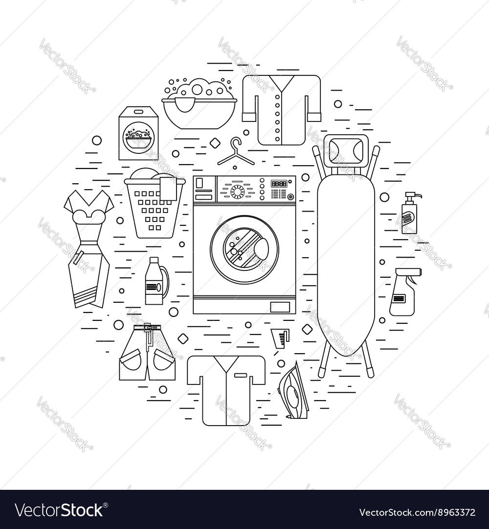 Laundry room in flat style Clean objects vector image