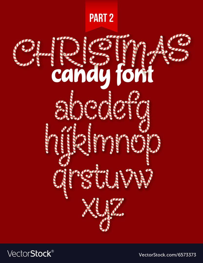 Christmas Candy cane alphabet vector image