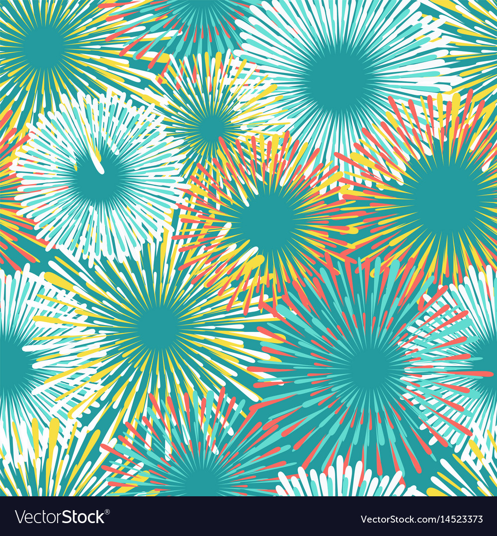 Colorful fireworks seamless pattern design vector image