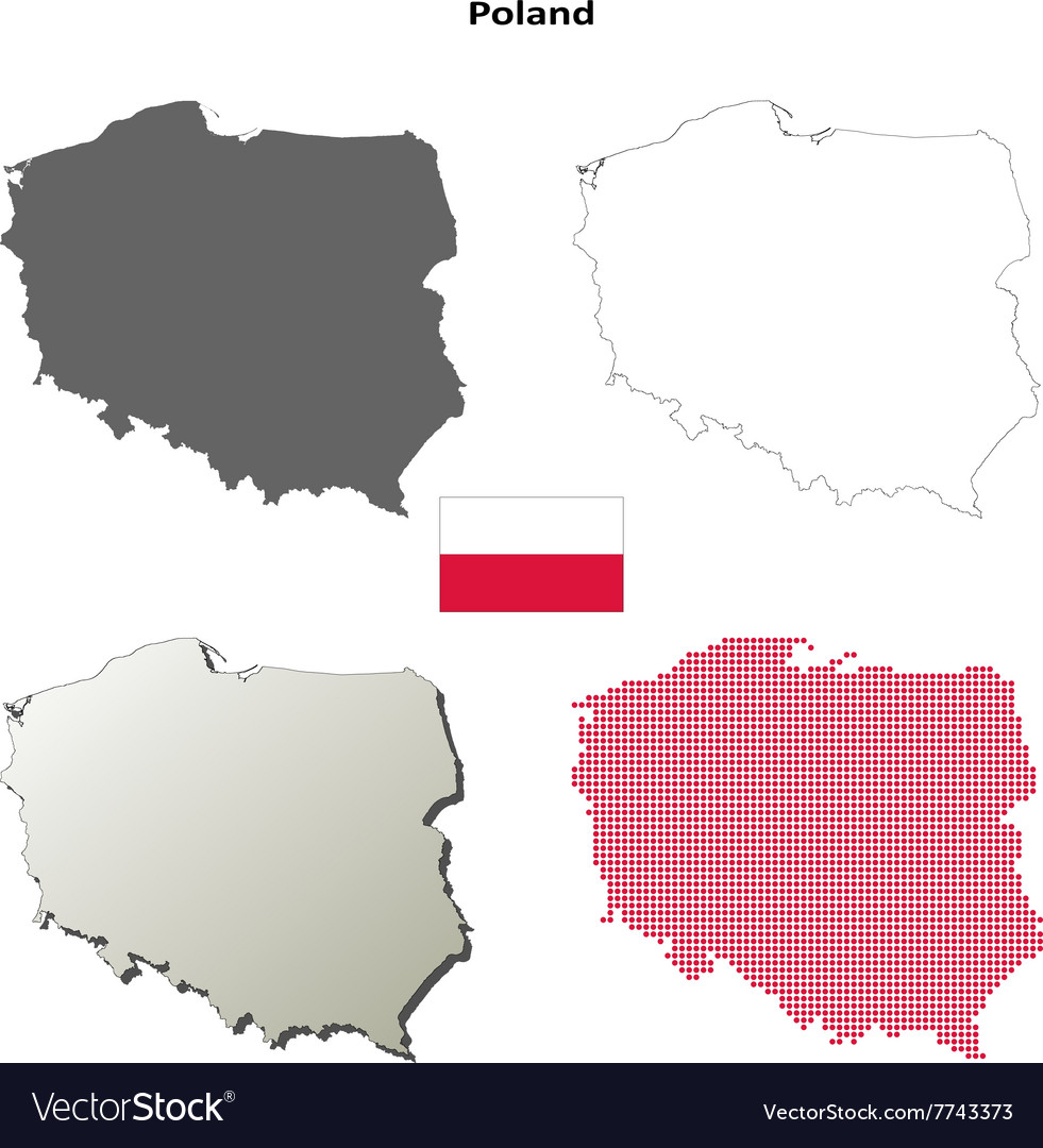 Poland outline map set vector image
