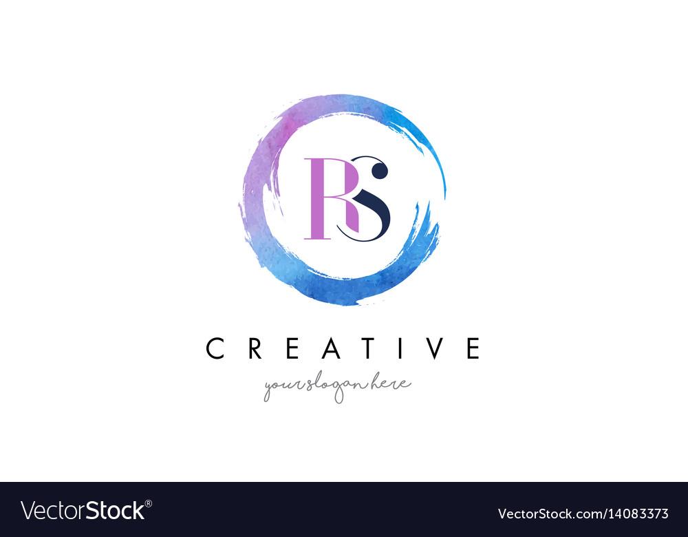 Rs letter logo circular purple splash brush vector image