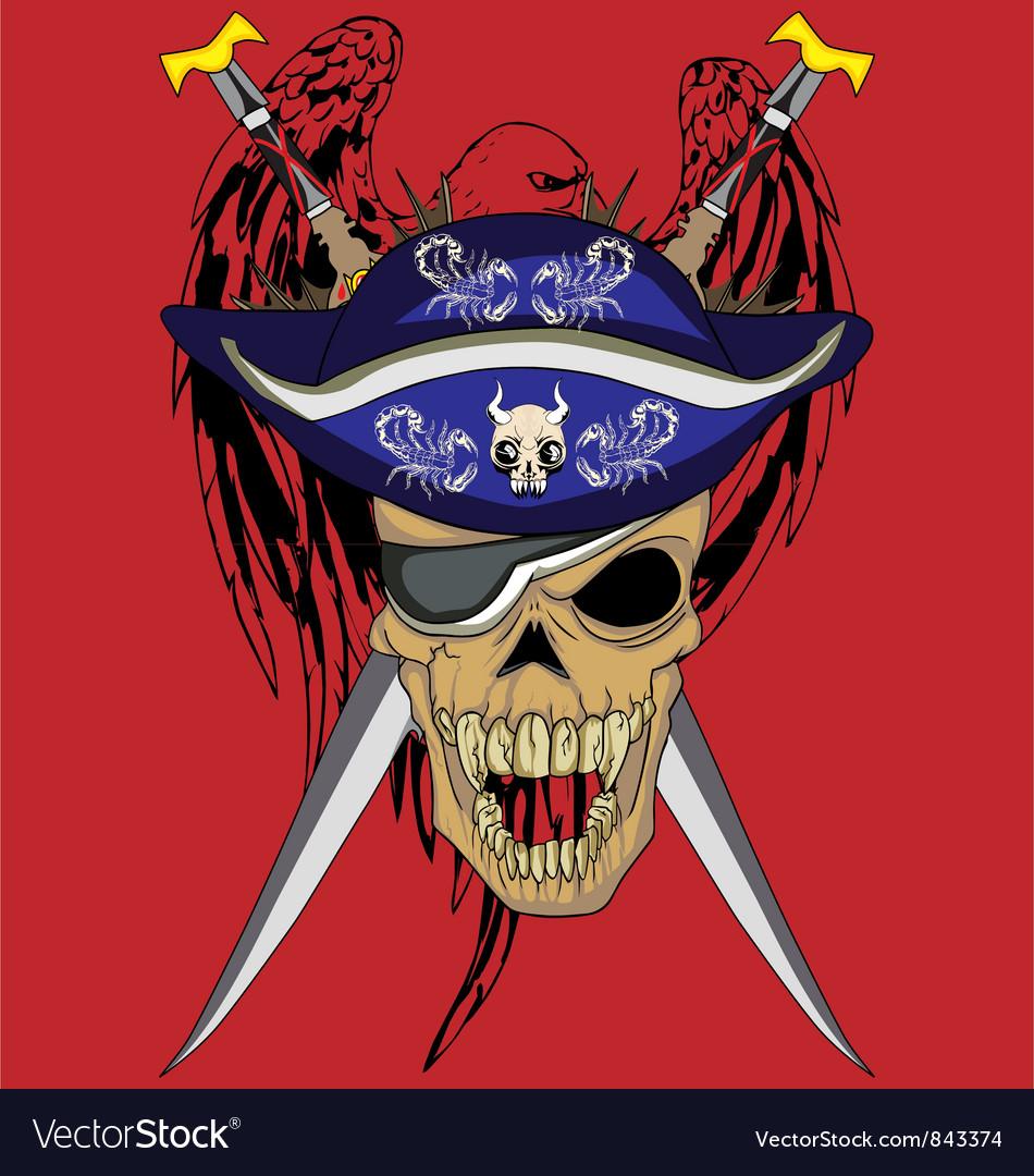 Eagle sword skull vector image