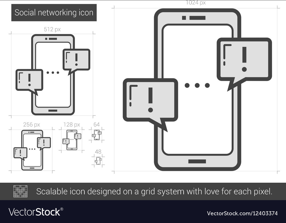 Social networking line icon vector image