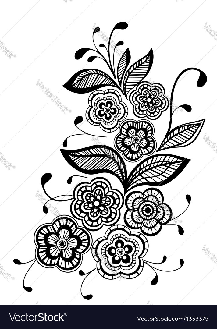 Beautiful black and white floral pattern design el vector image