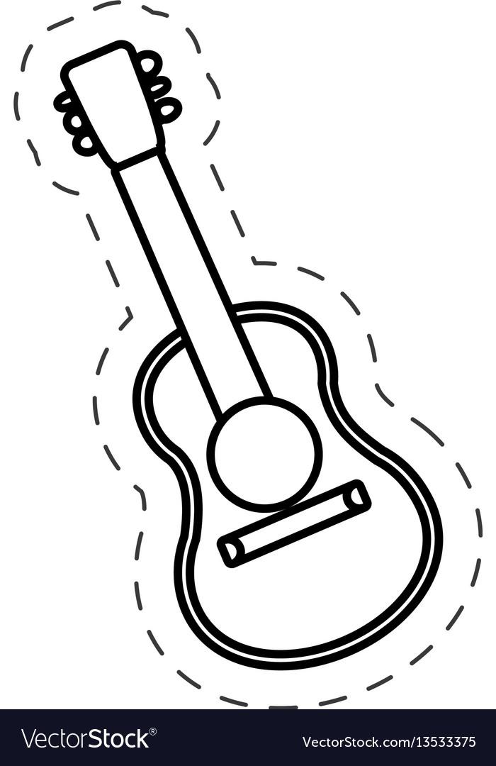 Guitar instrument music cut line vector image