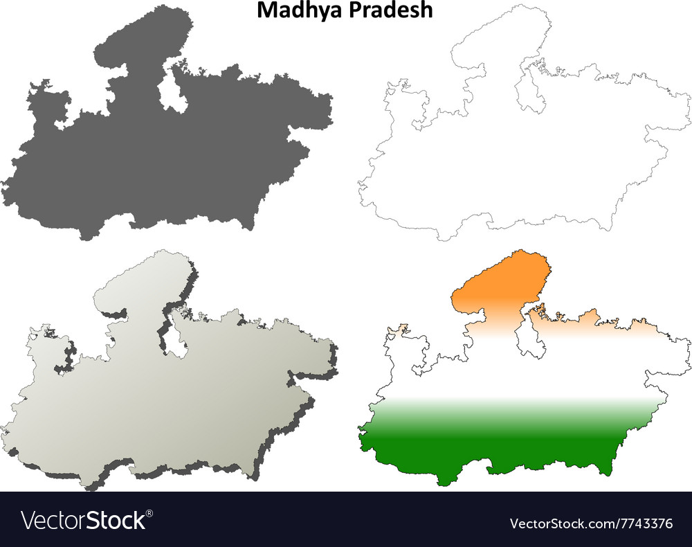 Madhya Pradesh blank outline map set vector image