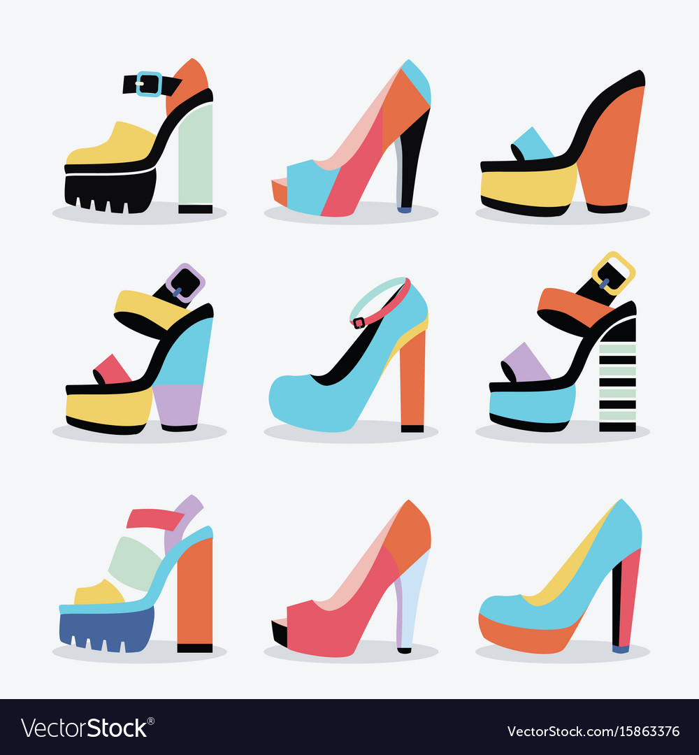 Retro colorful and trendy women platform shoes set vector image