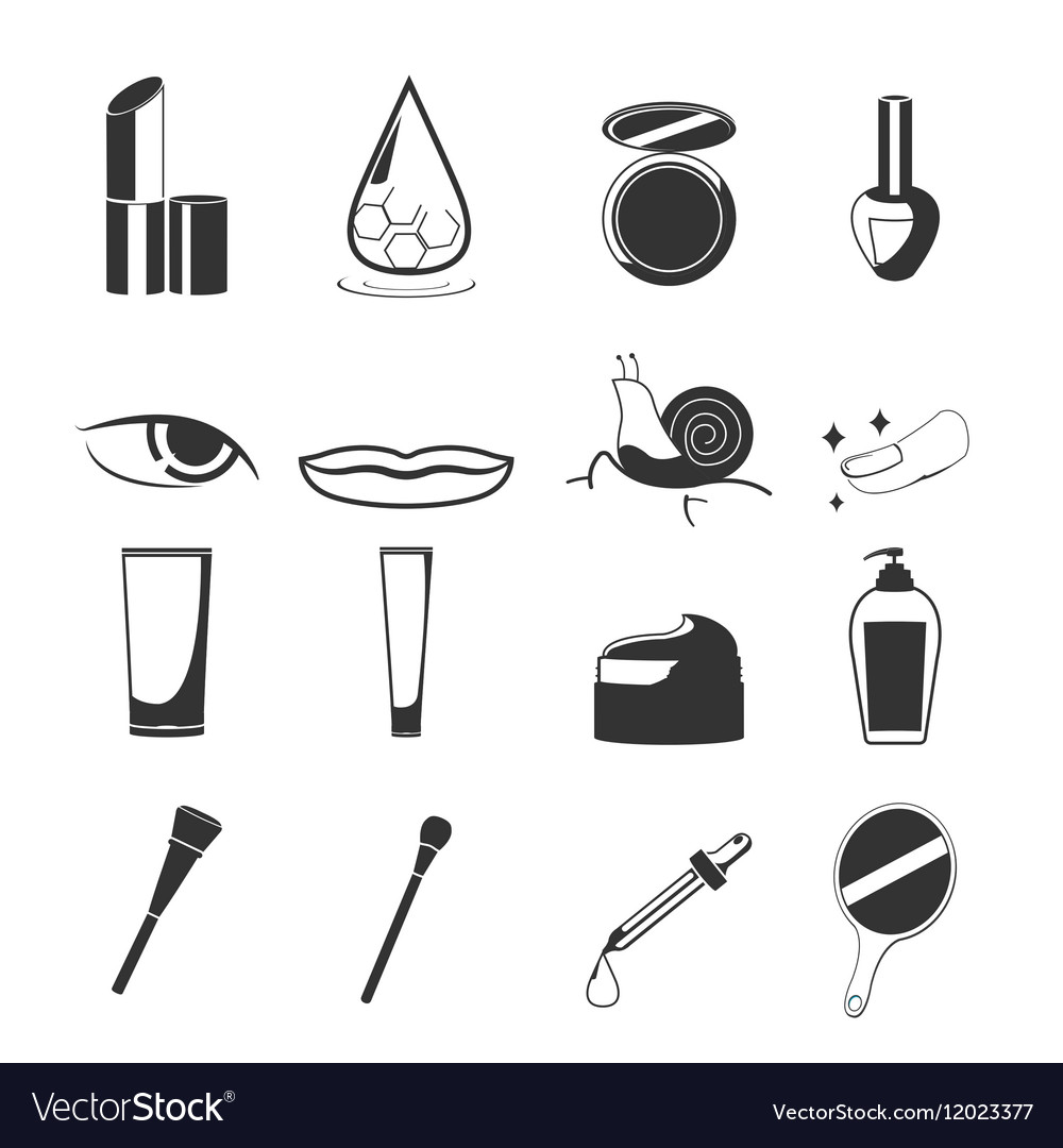 Cosmetic Beauty Black Icon Set vector image