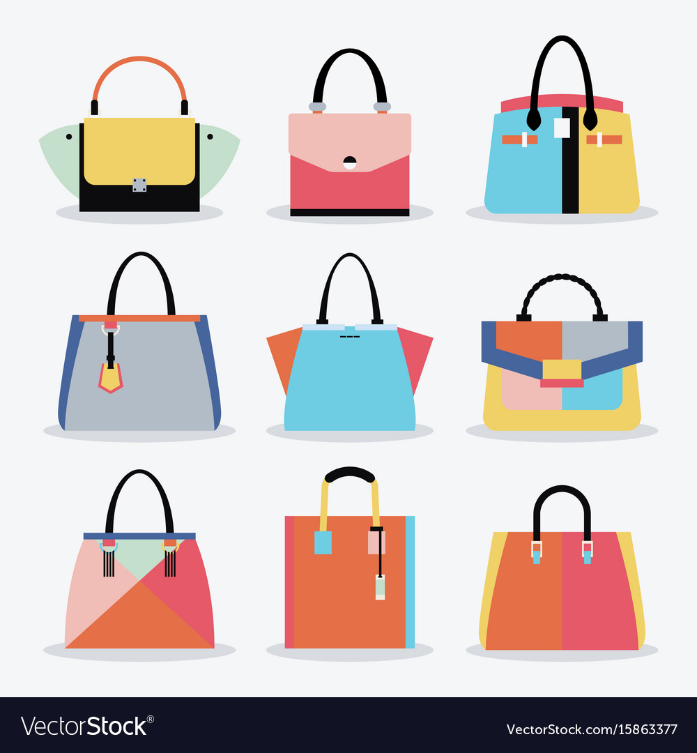 Retro colorful women handbags and purse set vector image