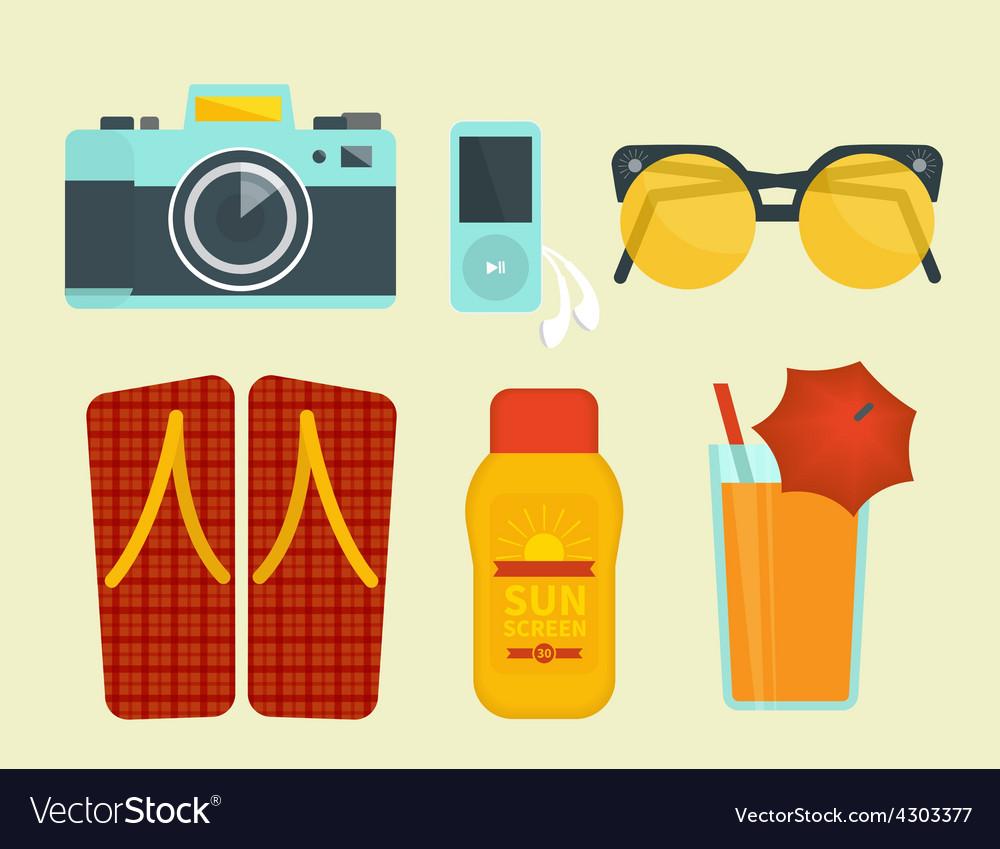 Summer vacation attributes vector image