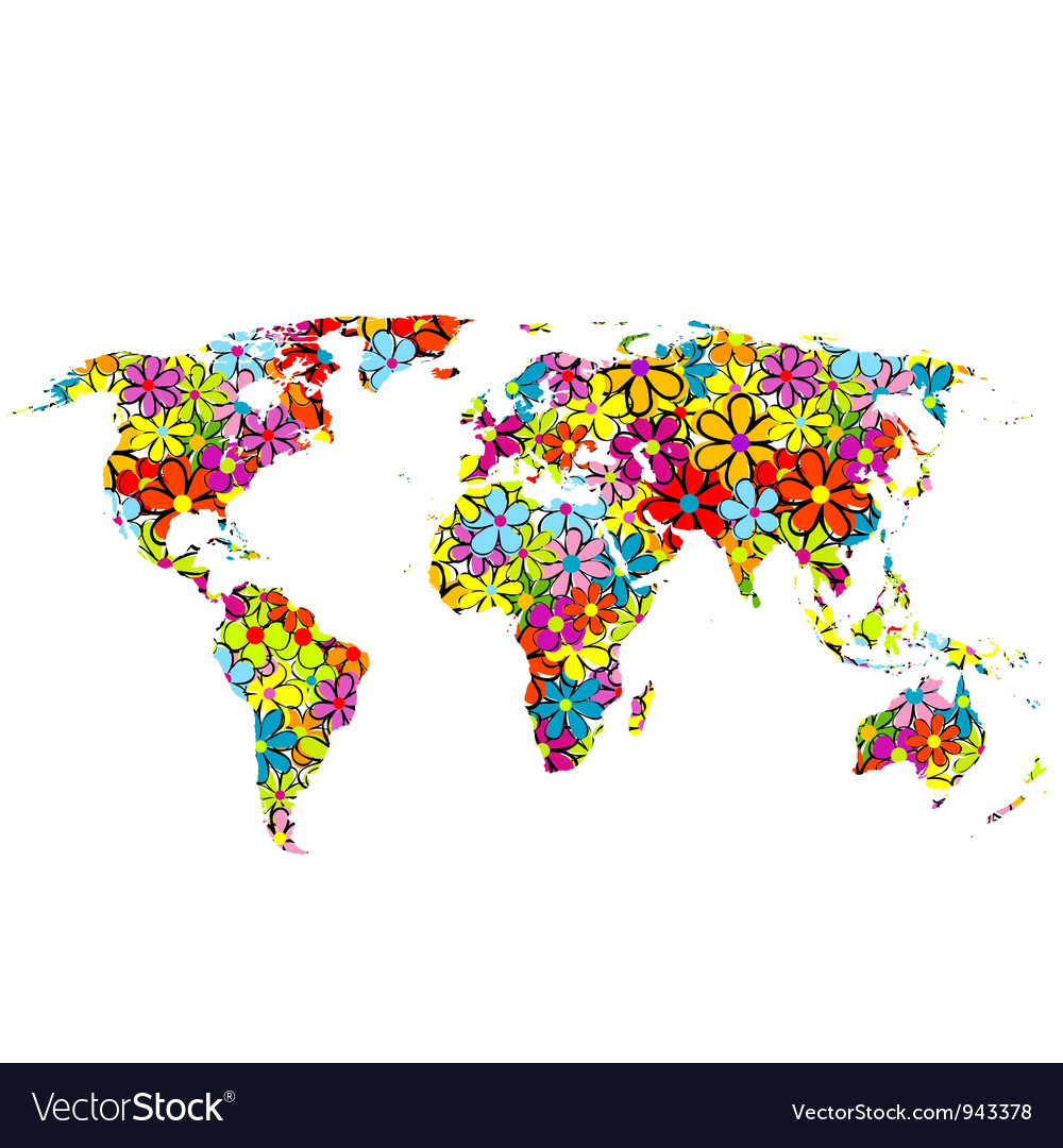 Floral world map royalty free vector image vectorstock floral world map vector image sciox Images