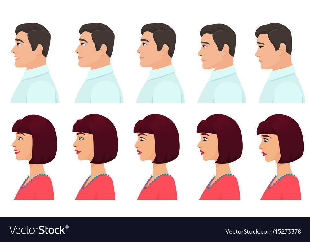 Male and female profile avatars expressions set vector image