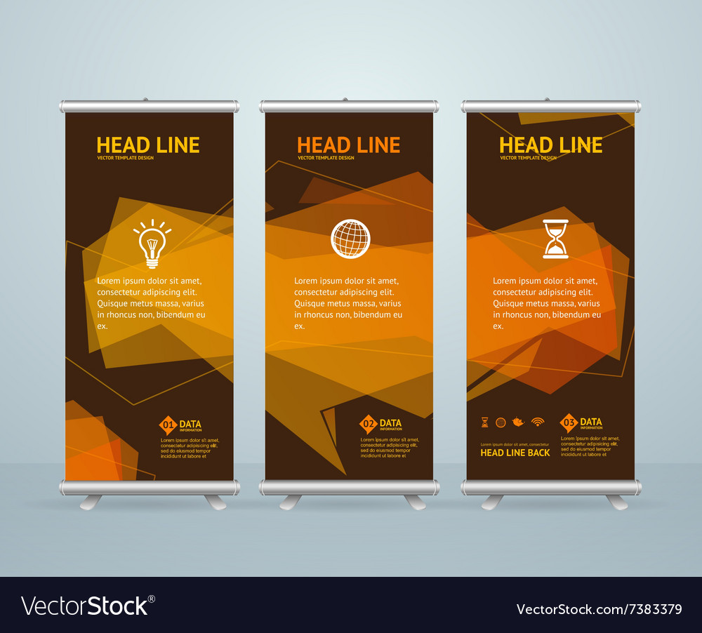 roll up banner stand design template royalty free vector