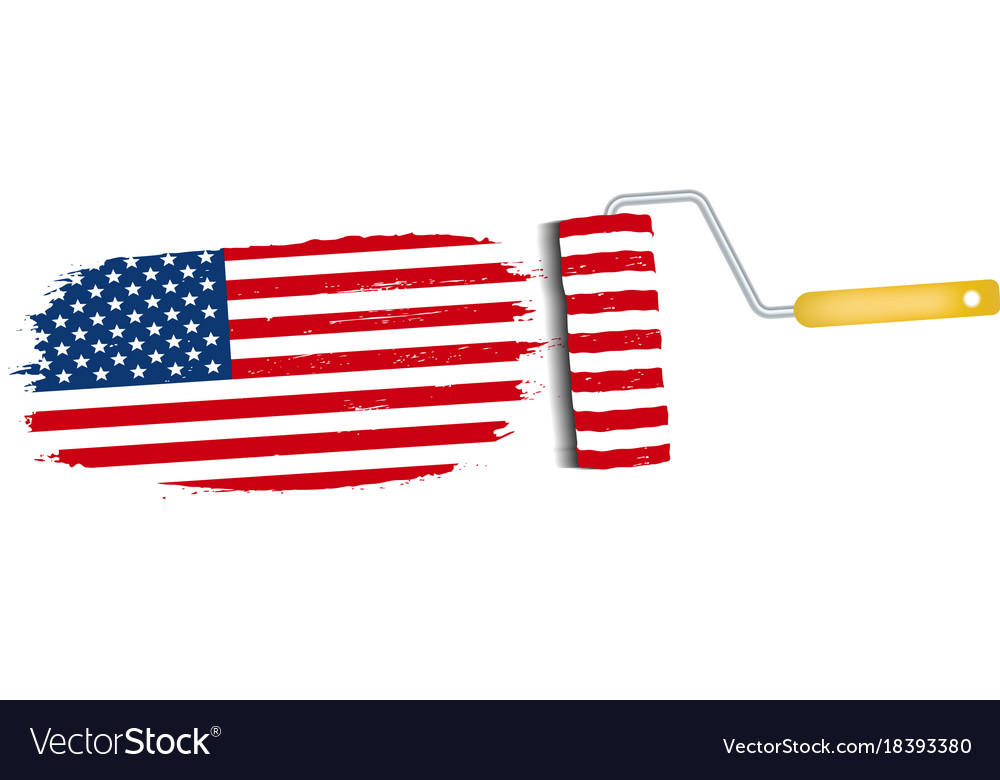 Brush stroke with usa national flag isolated on a vector image