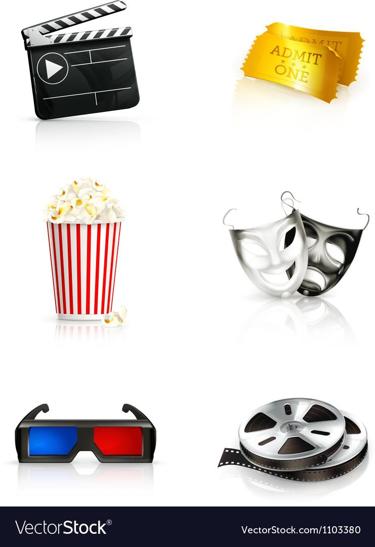 Film icon set vector image