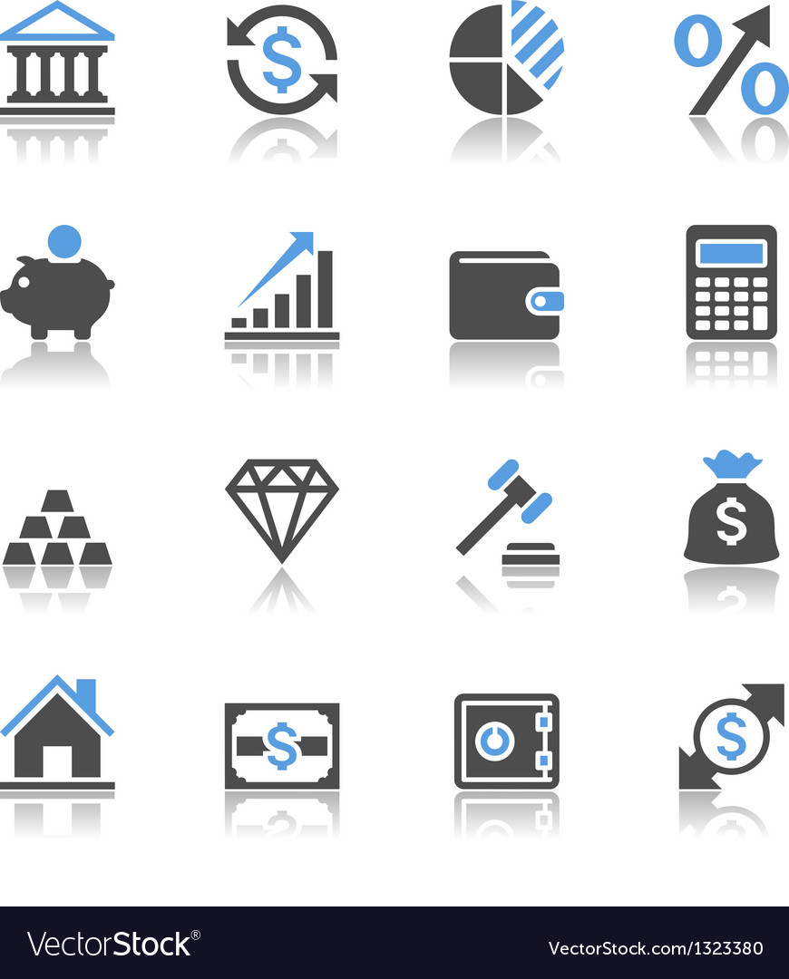 Financial investment icons reflection vector image