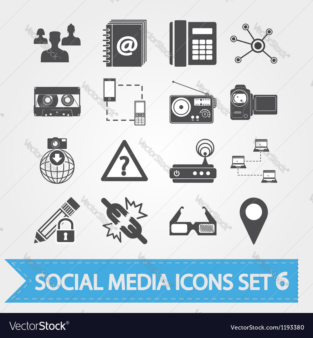Social media icons set 6 vector image