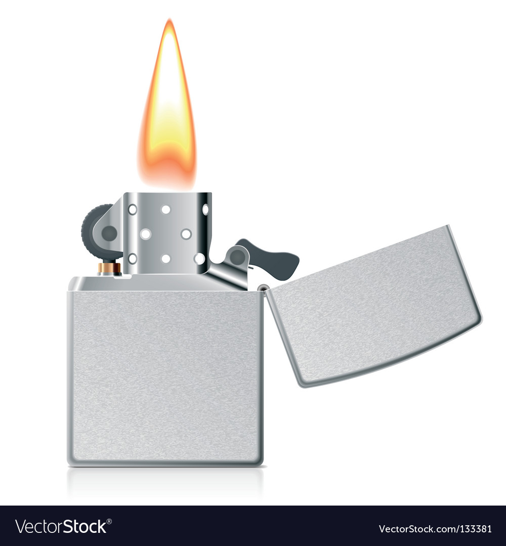 Lighter with flame vector image