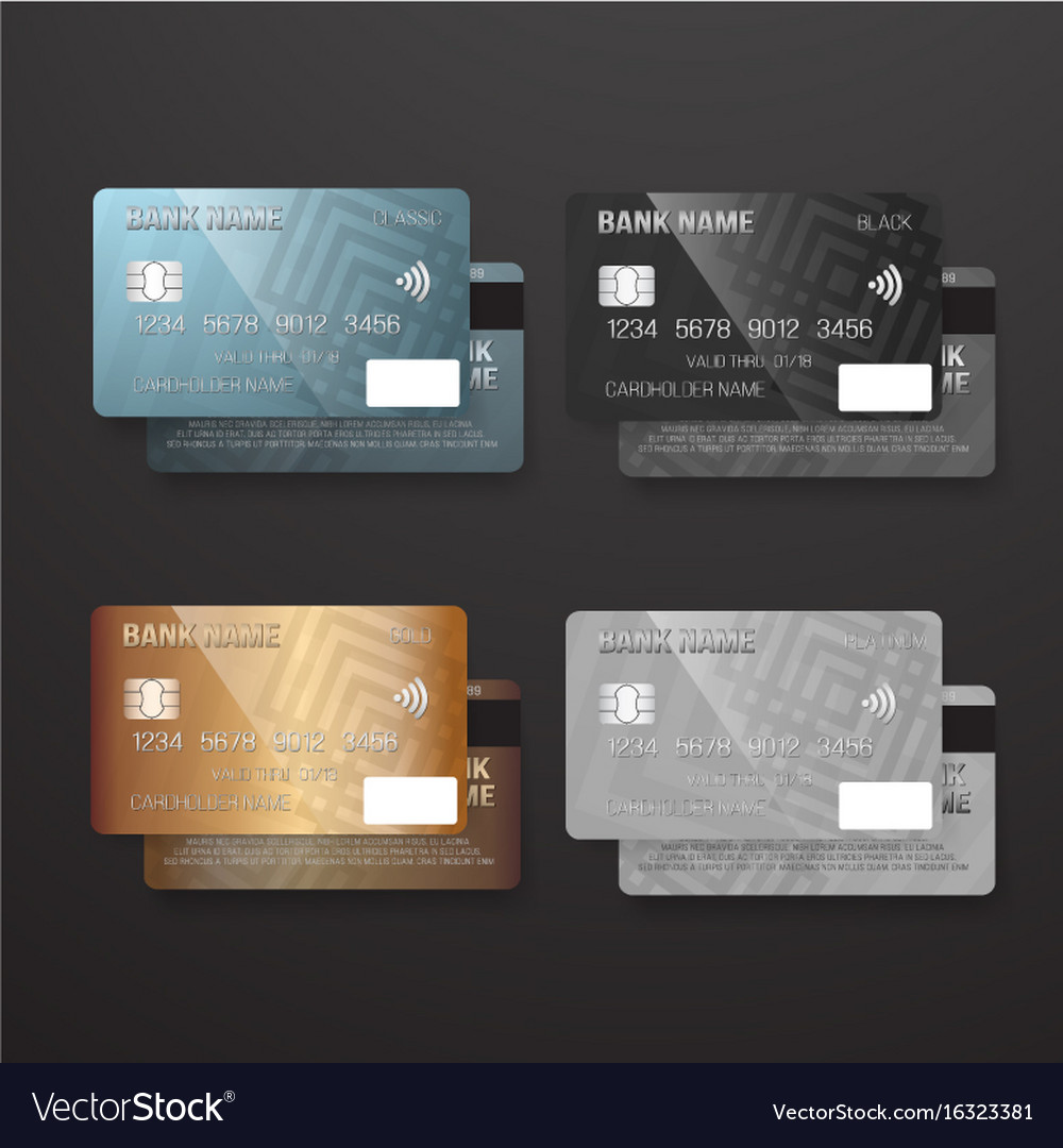 Realistic credit card template set bank card vector image fbccfo Gallery