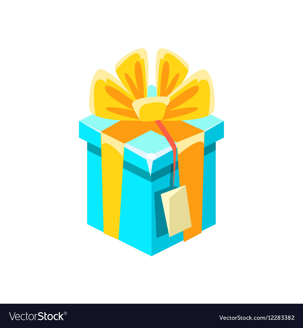 Blue Gift Box With Tag With Present Decorative vector image