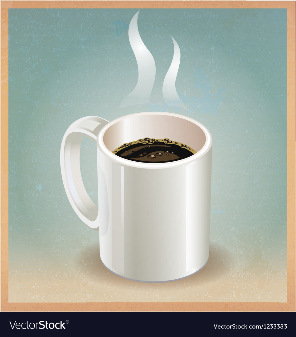 White coffee cup on old paper background Vector Image