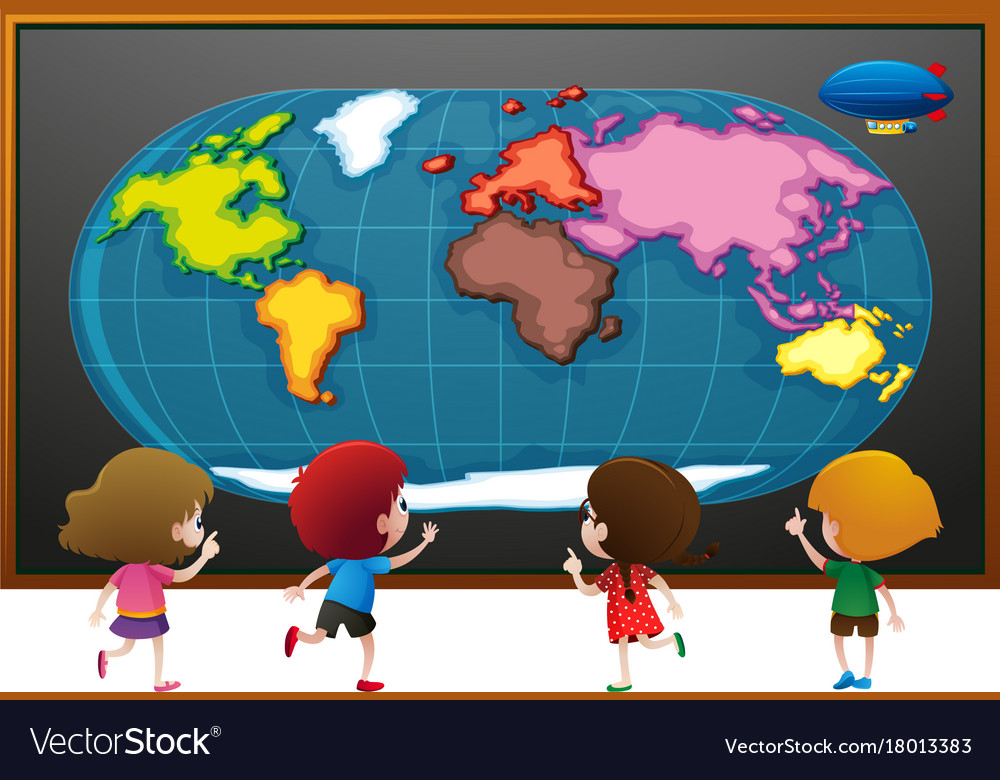 Children looking at worldmap poster royalty free vector children looking at worldmap poster vector image gumiabroncs Images