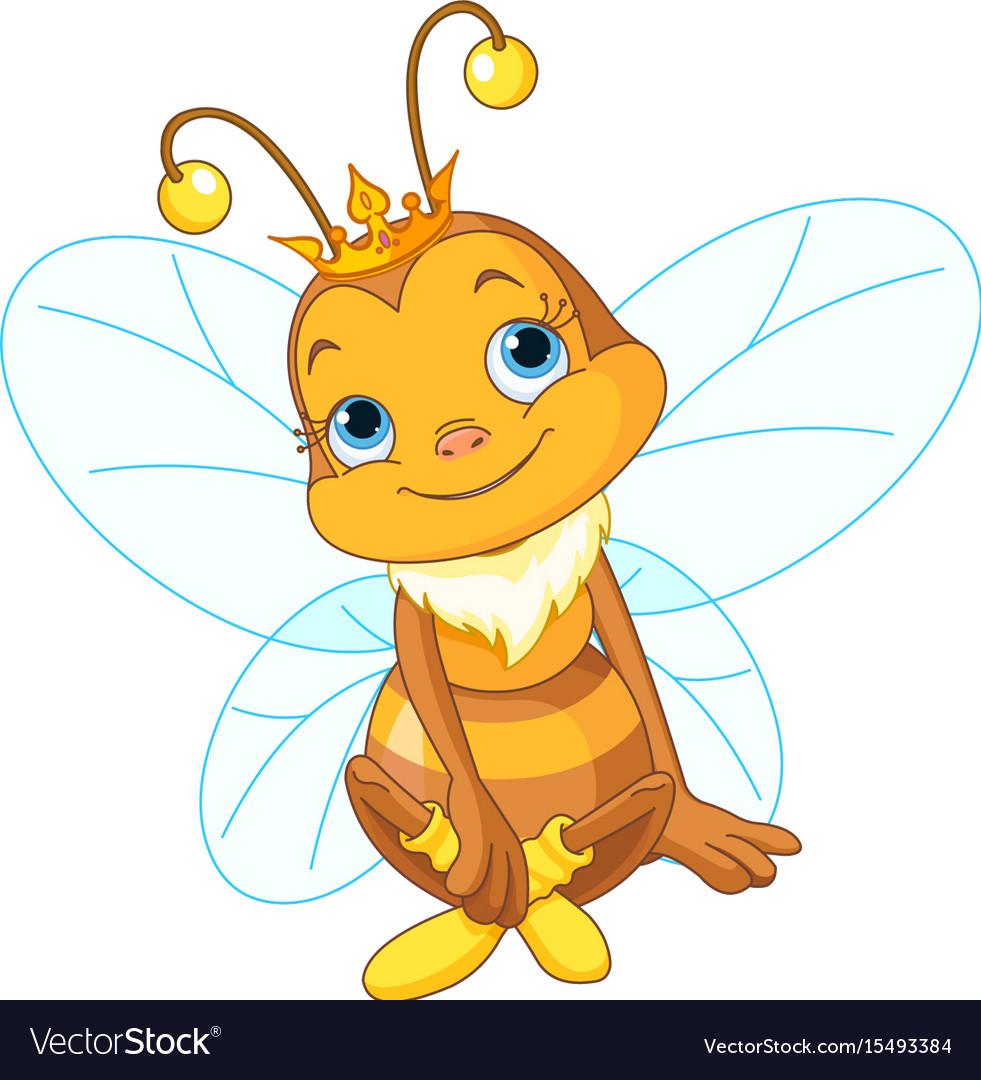 Cute queen bee vector image