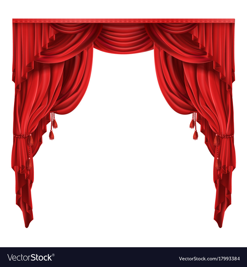Theater stage red curtains realistic royalty free vector for Tende frama