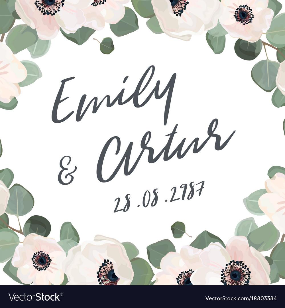 Wedding invitation floral invite card watercolor vector image