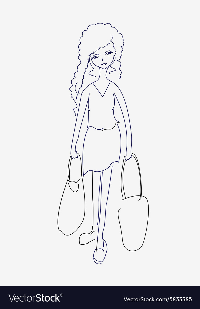 A sketch of a tired young woman with shopping bags vector image