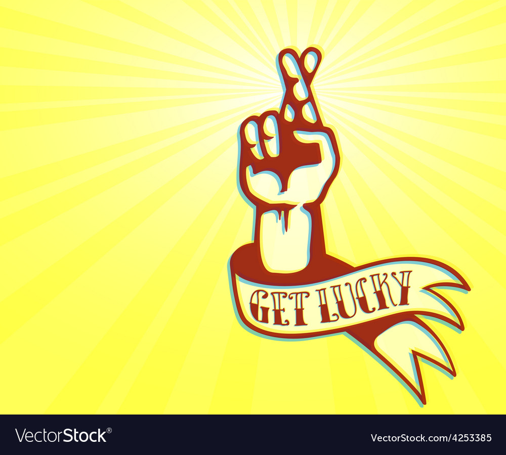 Get lucky tattoo design hand with crossed fingers vector image