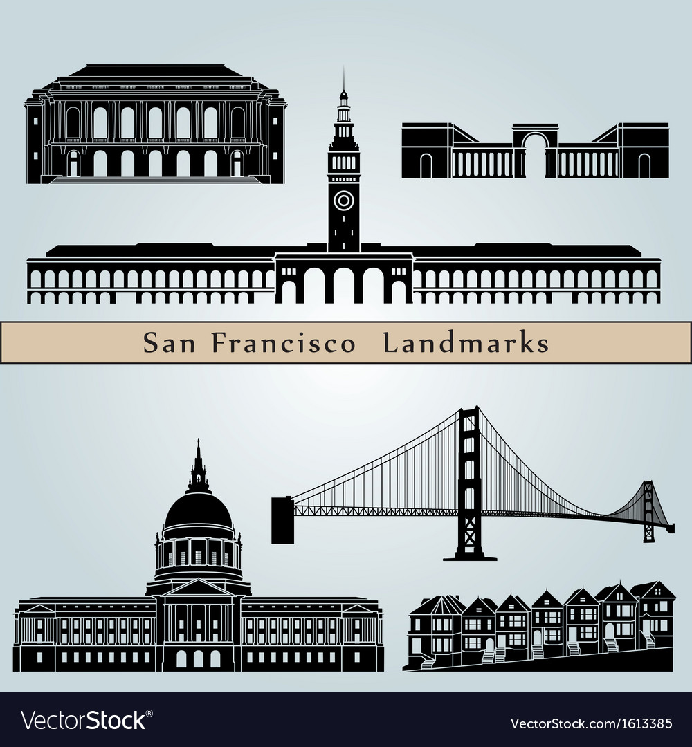 San Francisco landmarks and monuments vector image