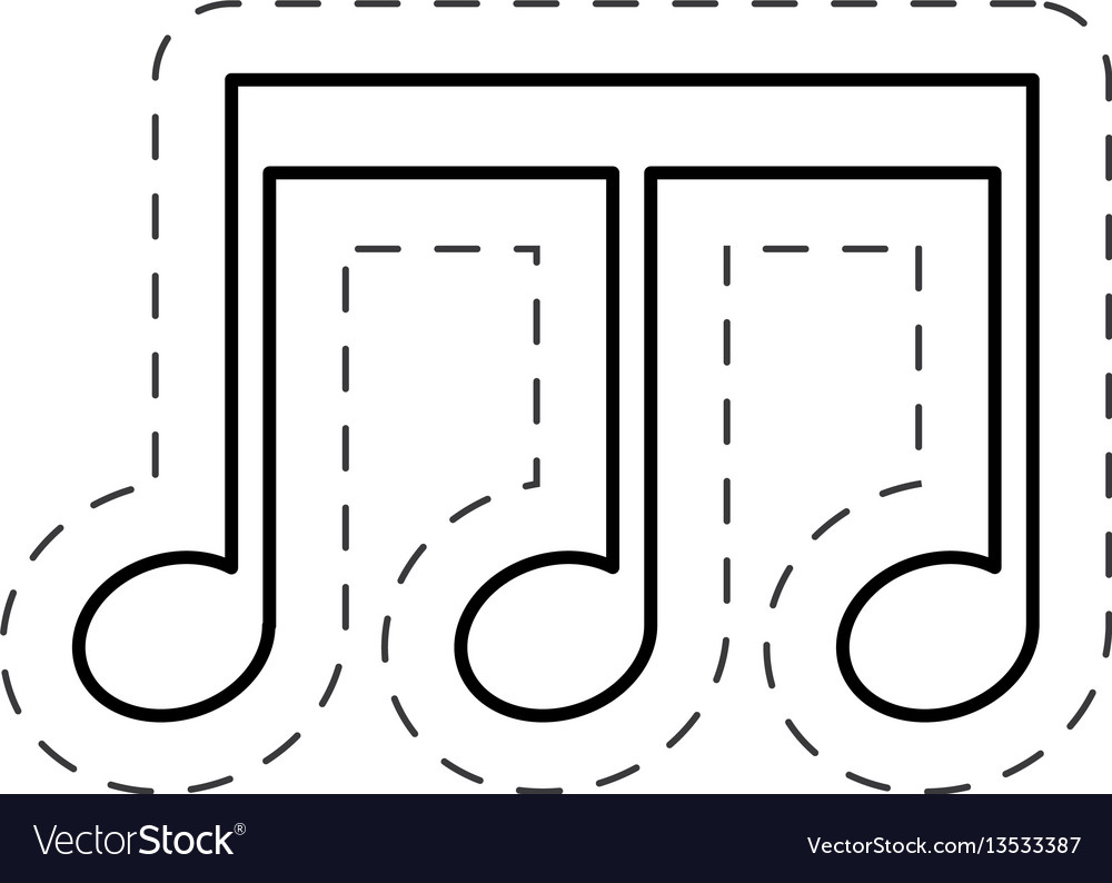 Music note sing cut line vector image