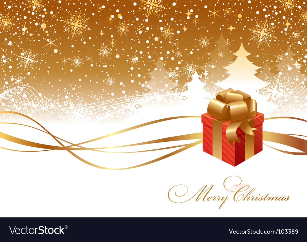 Christmas landscape and gift box vector image