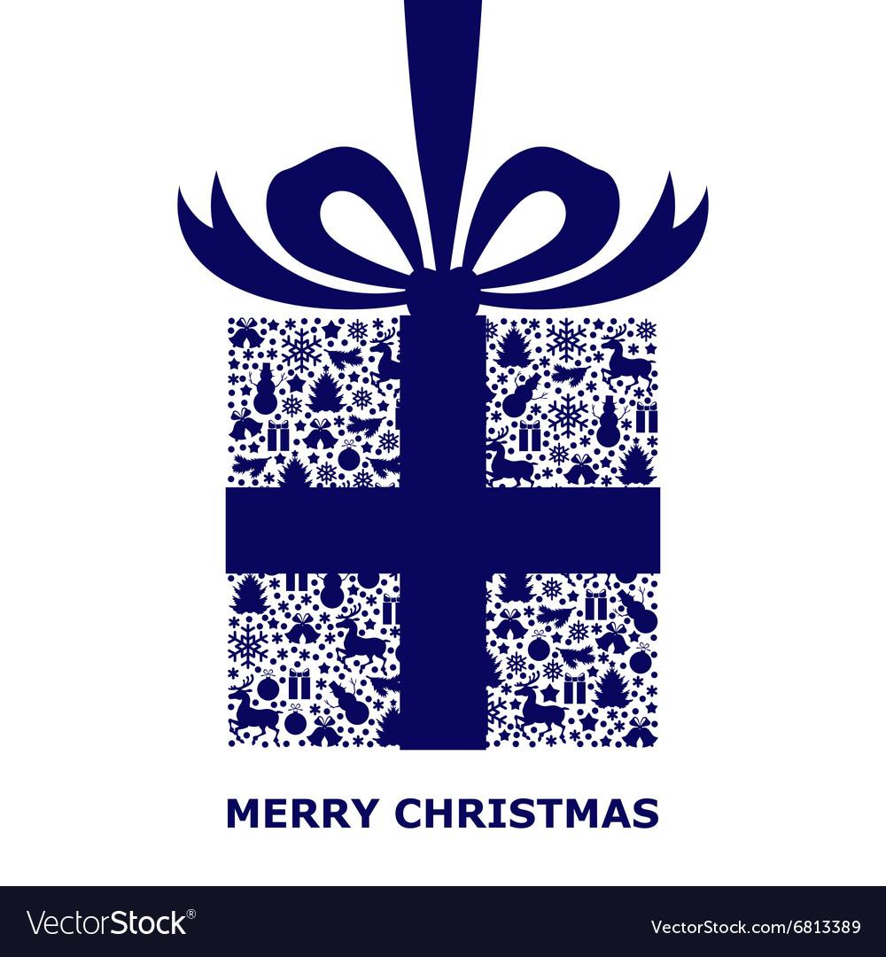 Patterned gift blue vector image