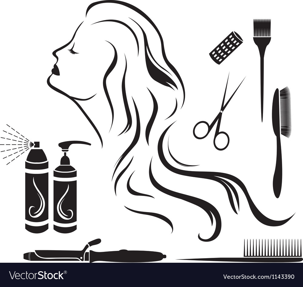 Set for hairdressers hairdressing vector image