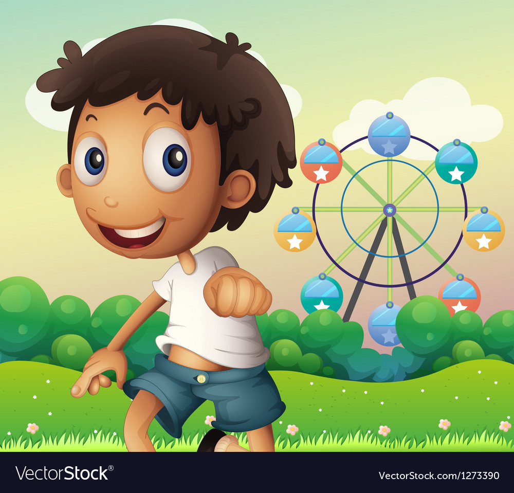 A boy standing across the ferris wheel vector image