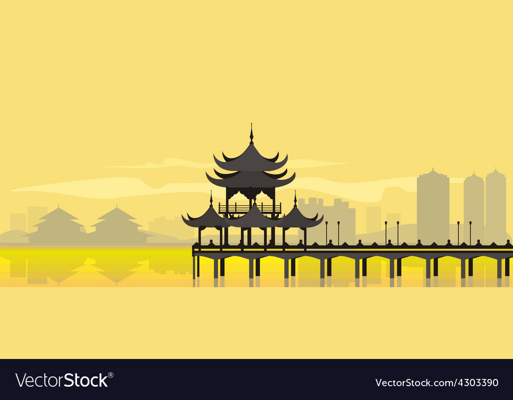 China National Building vector image