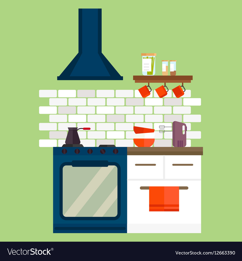 Kitchen stainless steel gas cooker and furniture vector image