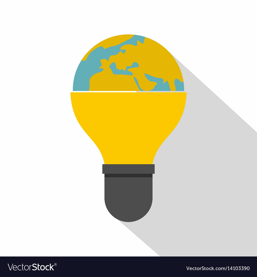 Light bulb and planet earth icon flat style vector image