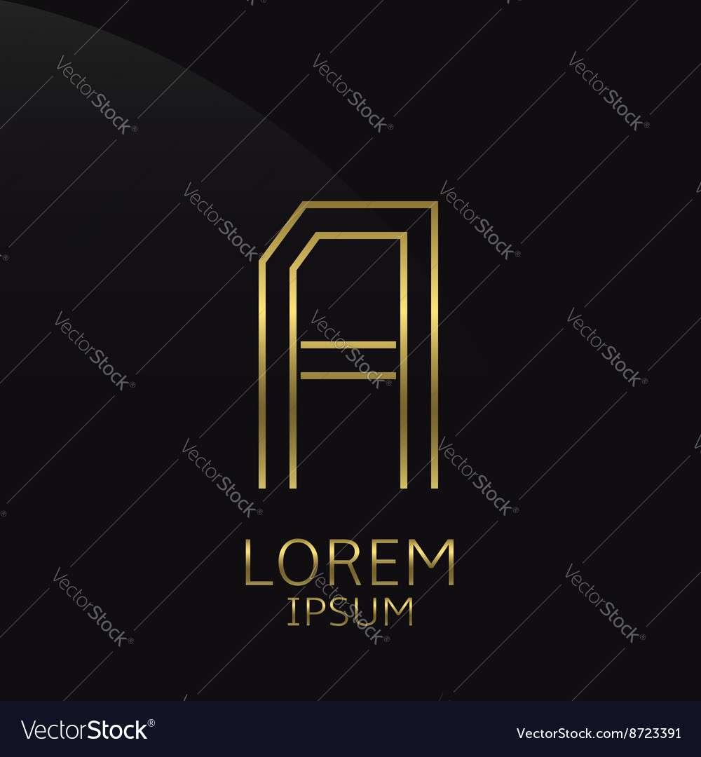Golden A Letter vector image