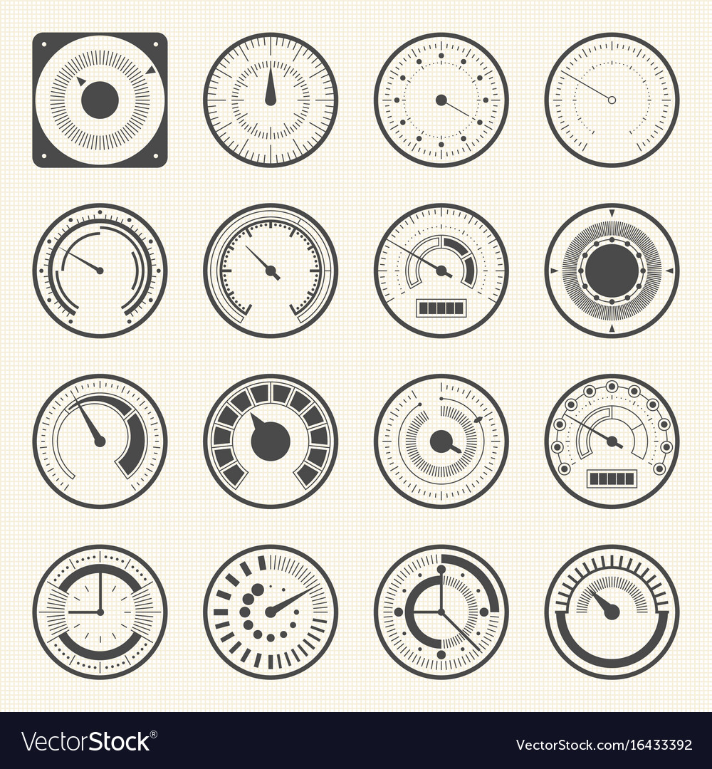 Circular meter collection of round gauge icons set vector image