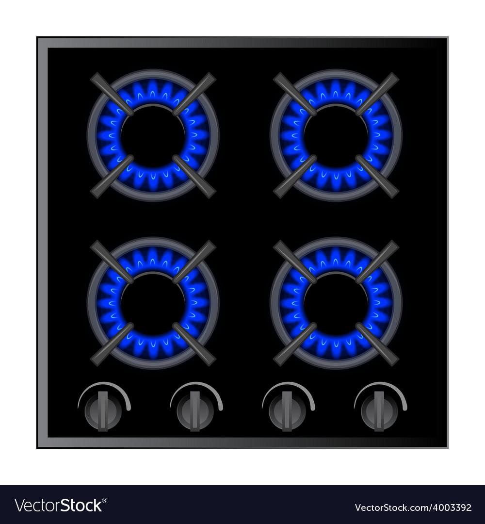 Gas stove burner over dark vector image
