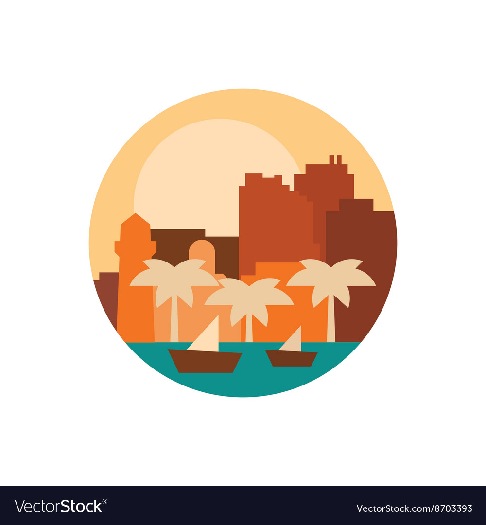 Building and palm trees at sunset boats sea vector image