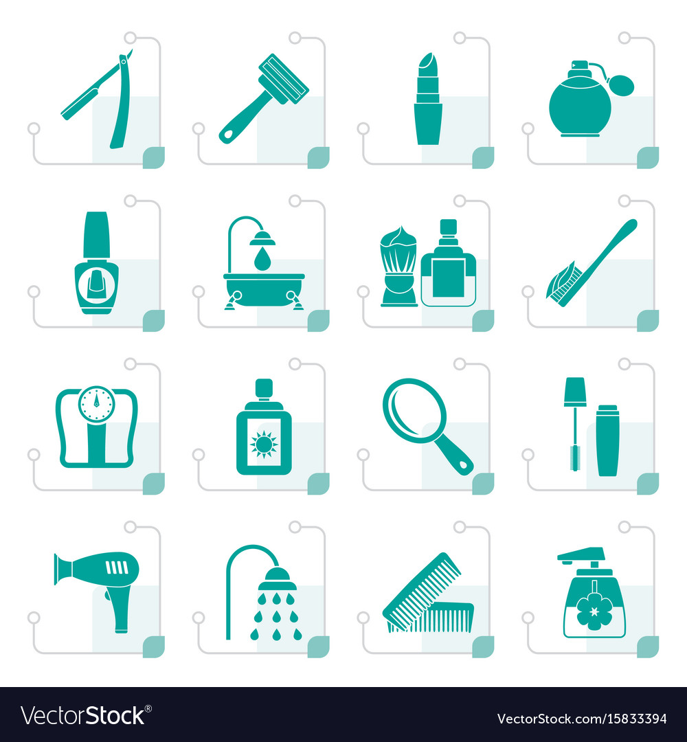 Stylized body care and cosmetics icons vector image