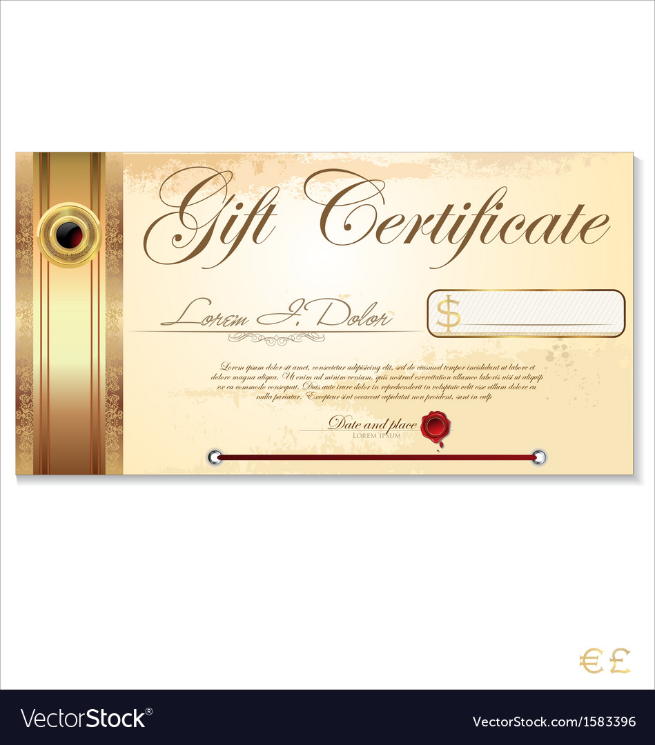 Luxury gift certificate template royalty free vector image luxury gift certificate template vector image yelopaper Image collections