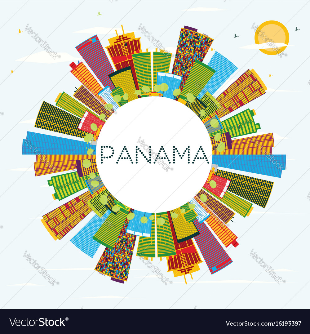 Panama skyline with color buildings blue sky and vector image