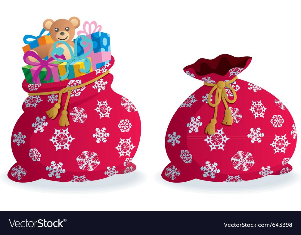 Santas sack vector image